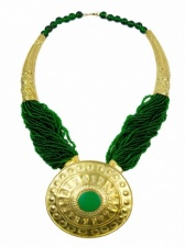 Very Large Green & Gold Ethnic Gladiator Necklace